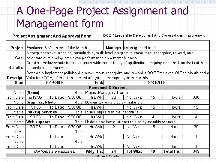 A One-Page Project Assignment and Management form