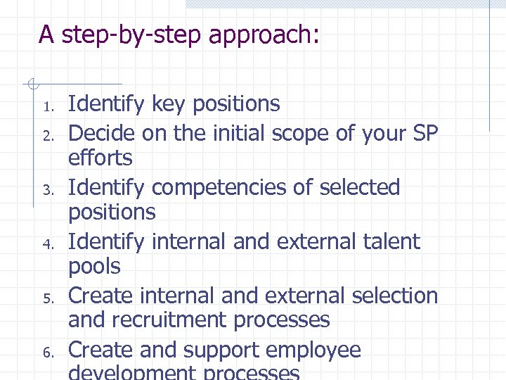 A step-by-step approach: 1. 2. 3. 4. 5. 6. Identify key positions Decide on