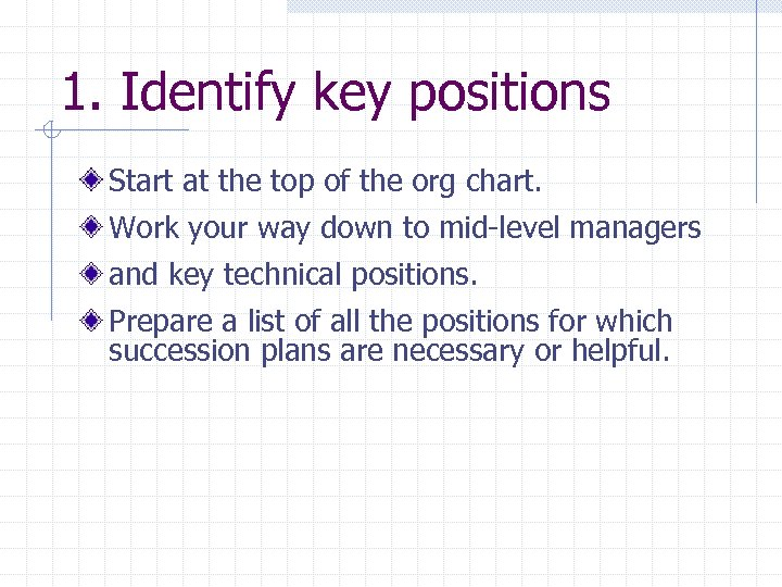 1. Identify key positions Start at the top of the org chart. Work your
