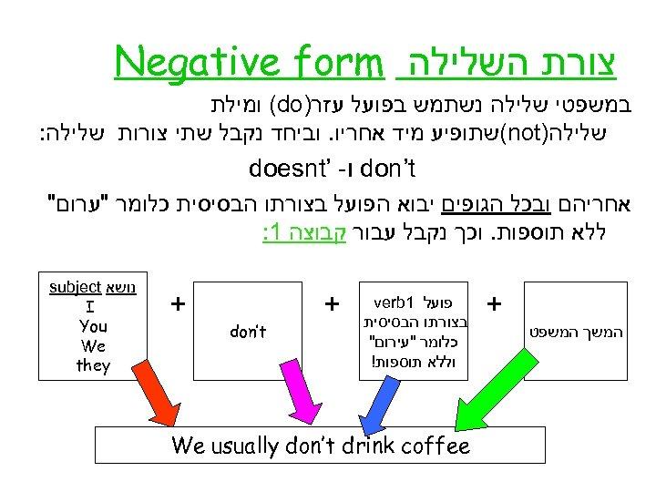 צורת השלילה Negative form במשפטי שלילה נשתמש בפועל עזר) (do ומילת שלילה) (not