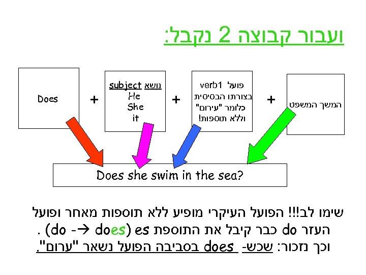 ועבור קבוצה 2 נקבל: המשך המשפט + פועל 1 verb בצורתו הבסיסית כלומר
