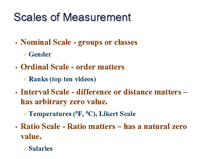 measurement and nominal b ordinal This video reviews the scales of measurement covered in introductory statistics: nominal, ordinal, interval, and ratio (part 1 of 2) scales of measurement.