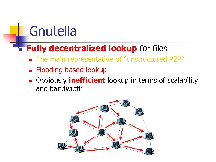 Gnutella n Fully decentralized lookup for files n n n The main representative of