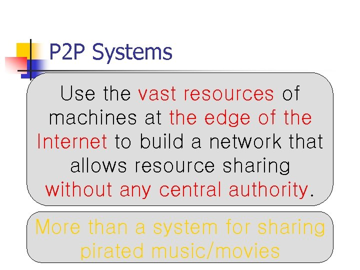 P 2 P Systems Use the vast resources of machines at the edge of