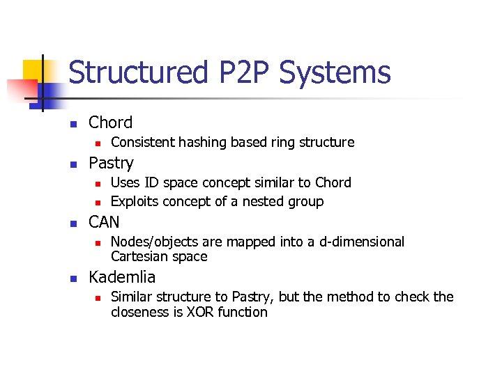 Structured P 2 P Systems n Chord n n Pastry n n n Uses