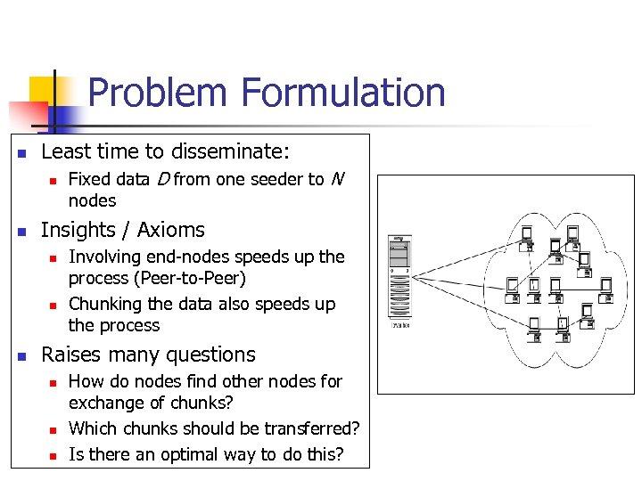 Problem Formulation n Least time to disseminate: n n Insights / Axioms n n