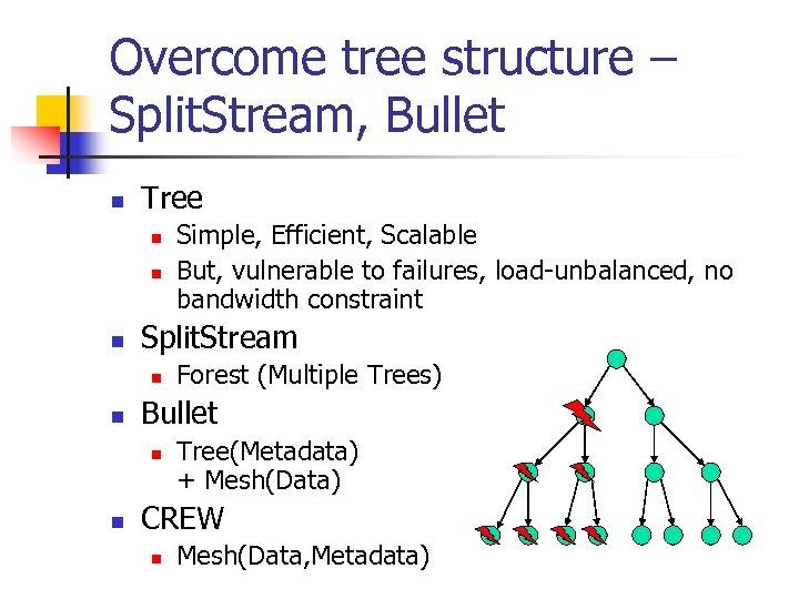 Overcome tree structure – Split. Stream, Bullet n Tree n n n Split. Stream