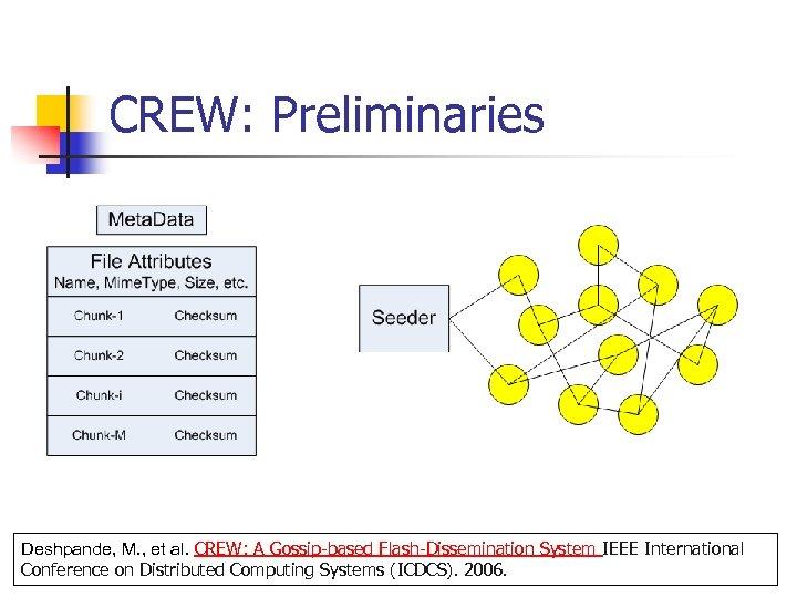 CREW: Preliminaries Deshpande, M. , et al. CREW: A Gossip-based Flash-Dissemination System IEEE International