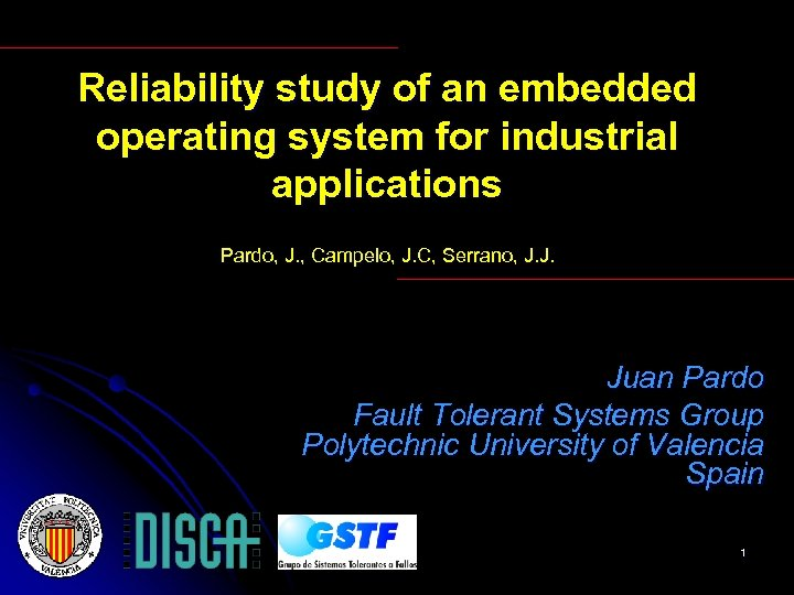 Reliability study of an embedded operating system for industrial applications Pardo, J. , Campelo,
