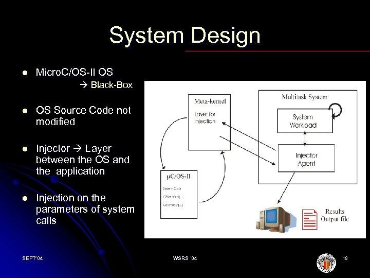 System Design l Micro. C/OS II OS Black Box l OS Source Code not
