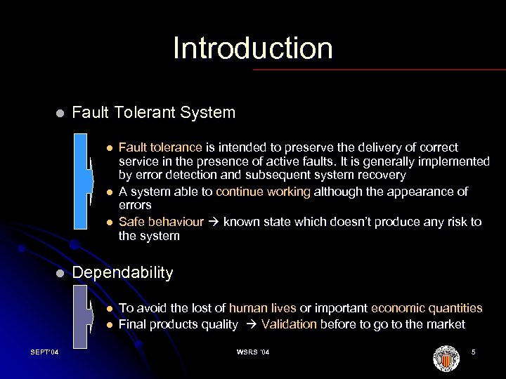 Introduction l Fault Tolerant System l l Dependability l l SEPT' 04 Fault tolerance