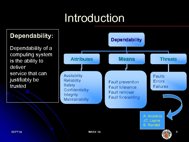 Introduction Dependability: Dependability of a computing system is the ability to deliver service that