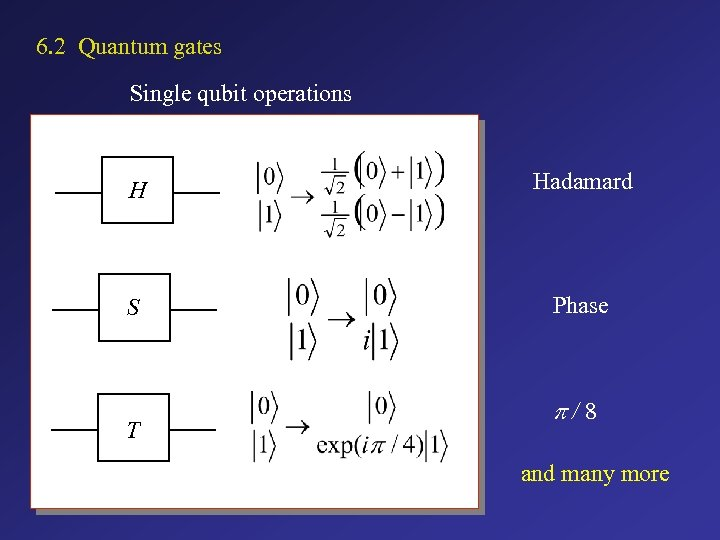 6. 2 Quantum gates Single qubit operations H Hadamard S Phase T p/8 and