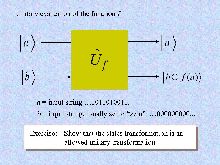 Unitary evaluation of the function f a = input string … 101101001. . .