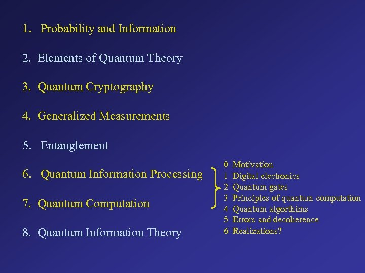 1. Probability and Information 2. Elements of Quantum Theory 3. Quantum Cryptography 4. Generalized