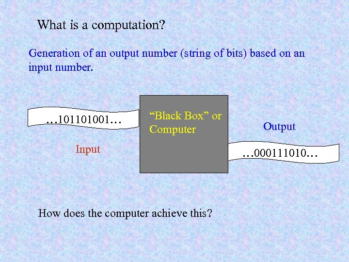 What is a computation? Generation of an output number (string of bits) based on