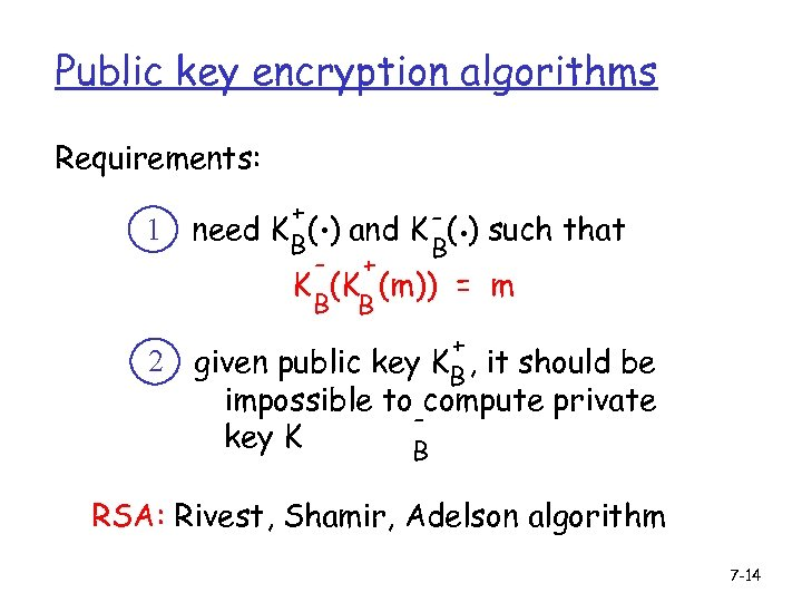 Public key encryption algorithms Requirements: 1 2 . . + need K B( )