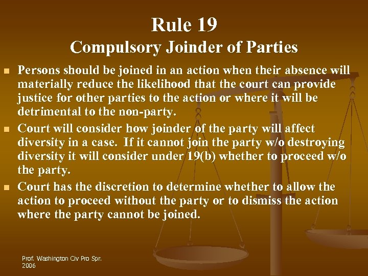 Rule 19 Compulsory Joinder of Parties n n n Persons should be joined in