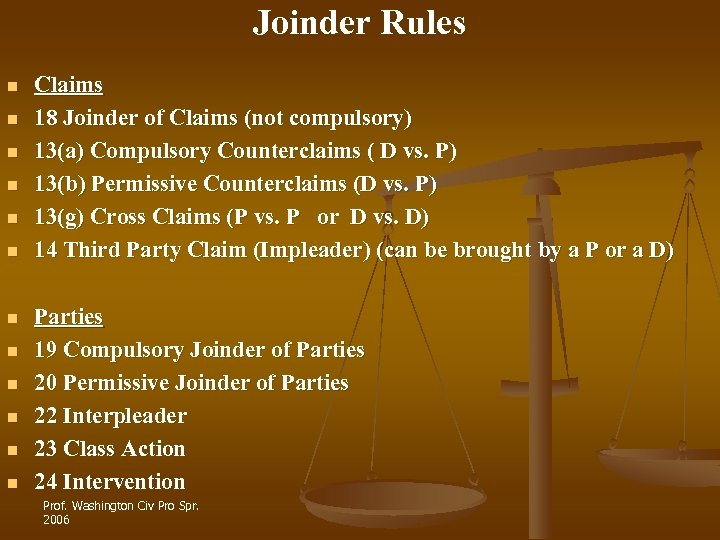 Joinder Rules n n n Claims 18 Joinder of Claims (not compulsory) 13(a) Compulsory