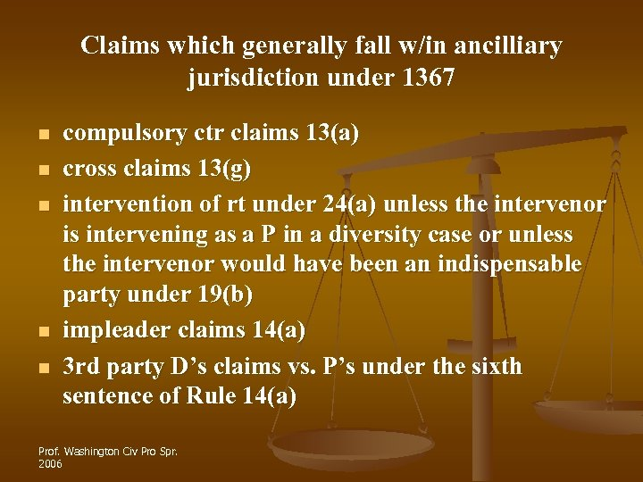 Claims which generally fall w/in ancilliary jurisdiction under 1367 n n n compulsory ctr