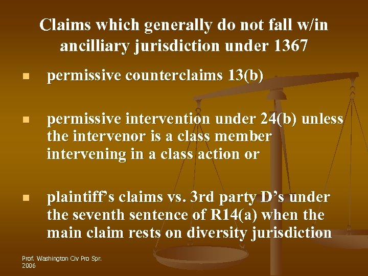 Claims which generally do not fall w/in ancilliary jurisdiction under 1367 n permissive counterclaims
