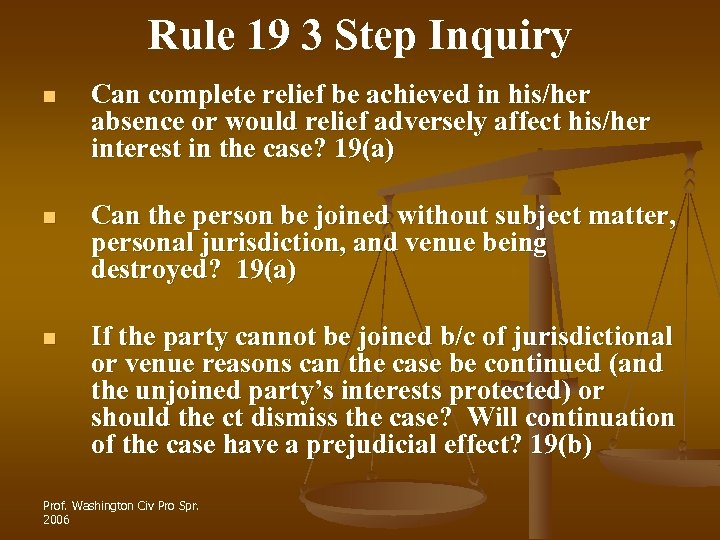 Rule 19 3 Step Inquiry n Can complete relief be achieved in his/her absence