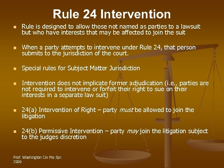 Rule 24 Intervention n Rule is designed to allow those not named as parties