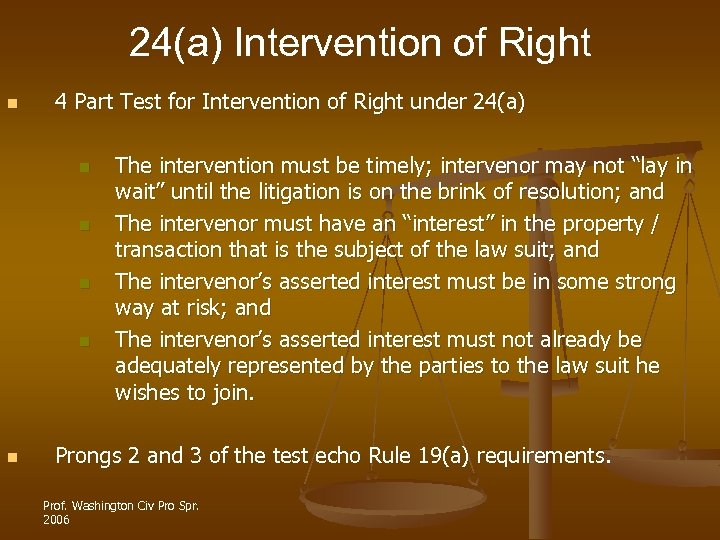 24(a) Intervention of Right n 4 Part Test for Intervention of Right under 24(a)