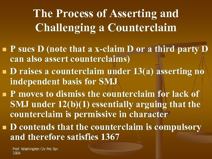 The Process of Asserting and Challenging a Counterclaim n n P sues D (note