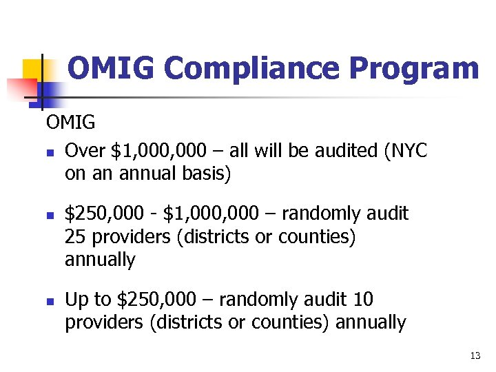 OMIG Compliance Program OMIG n Over $1, 000 – all will be audited (NYC
