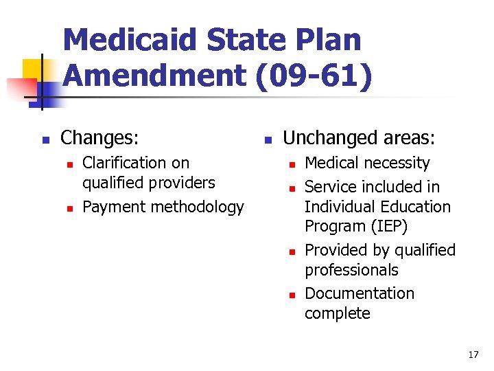 Medicaid State Plan Amendment (09 -61) n Changes: n n Clarification on qualified providers