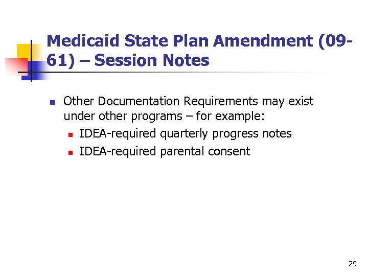 Medicaid State Plan Amendment (0961) – Session Notes n Other Documentation Requirements may exist