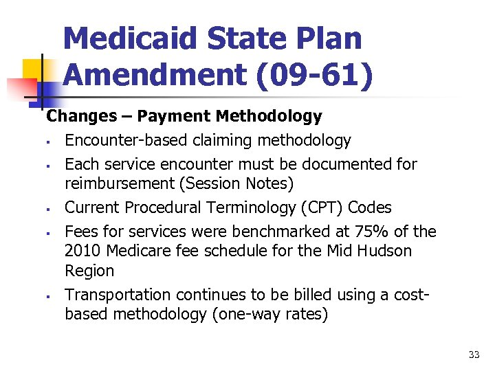 Medicaid State Plan Amendment (09 -61) Changes – Payment Methodology § Encounter-based claiming methodology