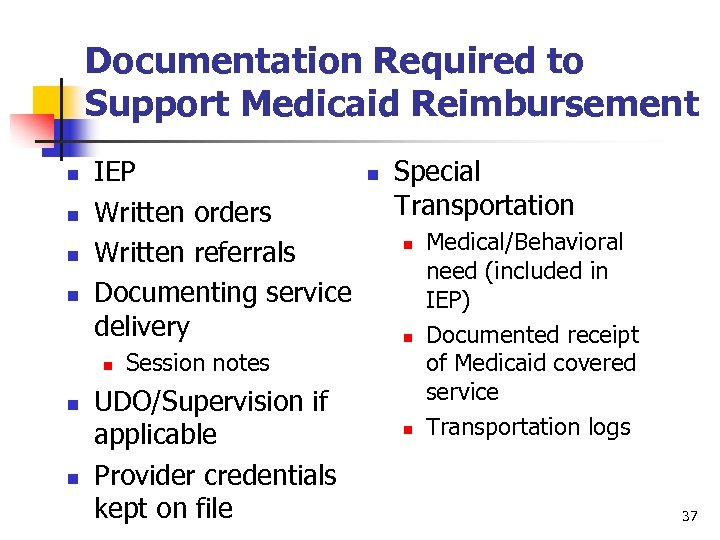 Documentation Required to Support Medicaid Reimbursement n n IEP Written orders Written referrals Documenting