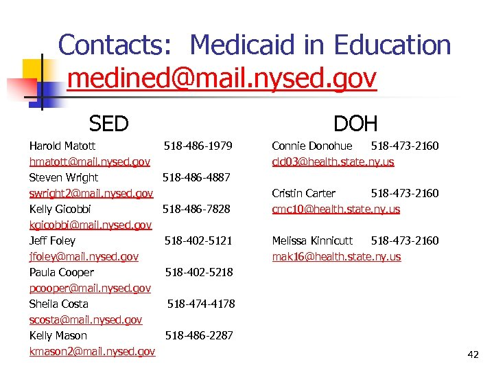 Contacts: Medicaid in Education medined@mail. nysed. gov SED Harold Matott hmatott@mail. nysed. gov Steven