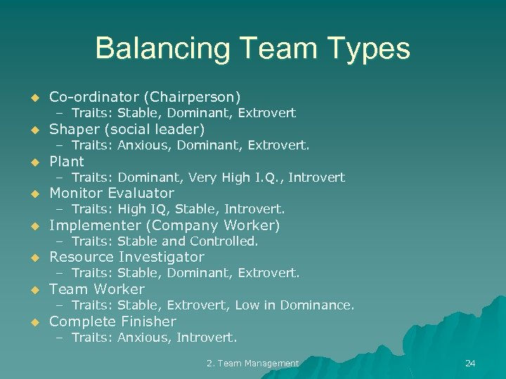 Balancing Team Types u Co-ordinator (Chairperson) u Shaper (social leader) u Plant u Monitor
