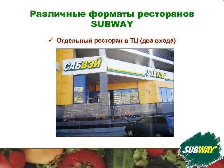 Различные форматы ресторанов SUBWAY ü Отдельный ресторан в ТЦ (два входа)