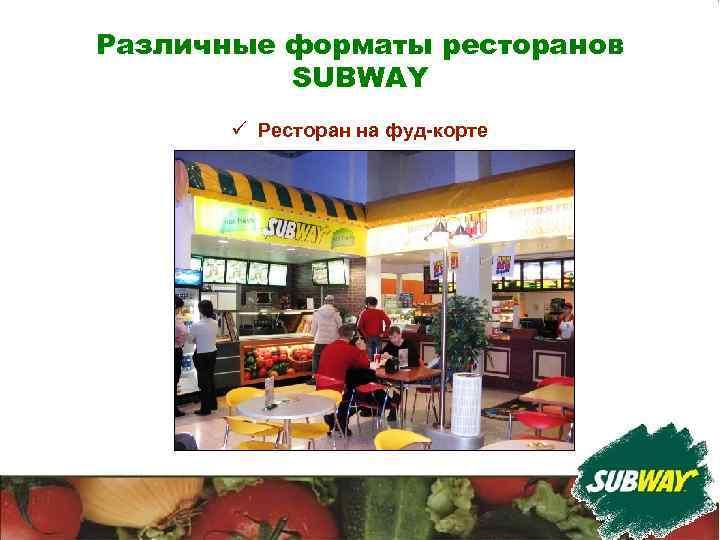 Различные форматы ресторанов SUBWAY ü Ресторан на фуд-корте