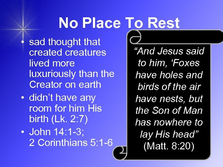 No Place To Rest • sad thought that created creatures lived more luxuriously than