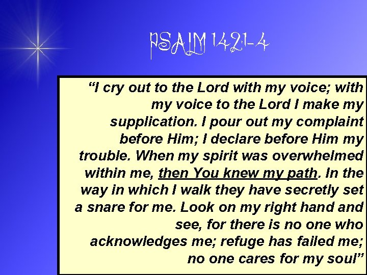 "PSALM 142: 1 -4 ""I cry out to the Lord with my voice; with"