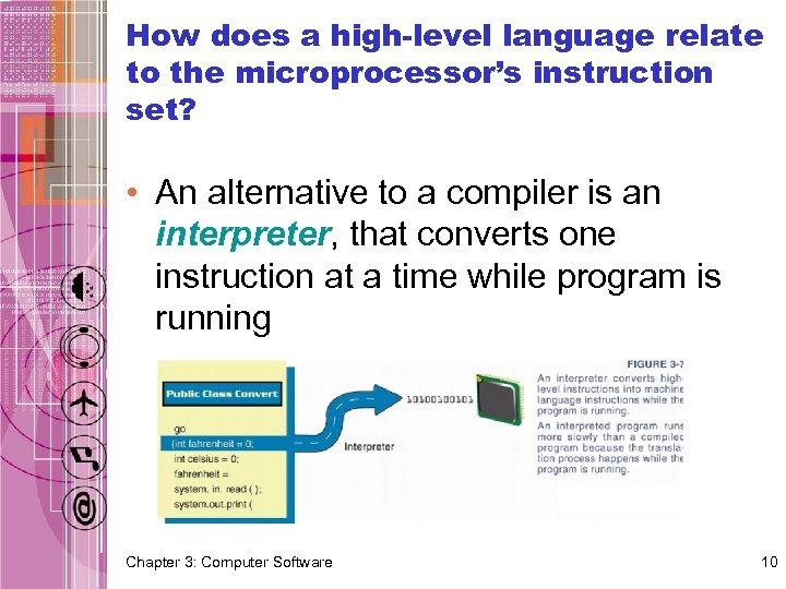 How does a high-level language relate to the microprocessor's instruction set? • An alternative