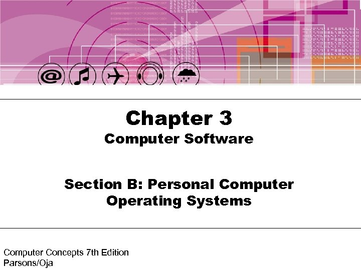 Chapter 3 Computer Software Section B: Personal Computer Operating Systems Computer Concepts 7 th