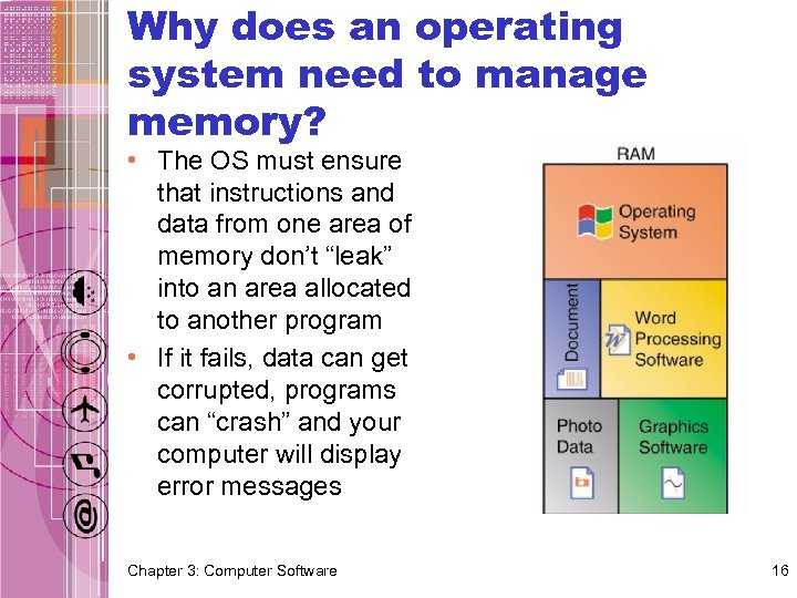 Why does an operating system need to manage memory? • The OS must ensure