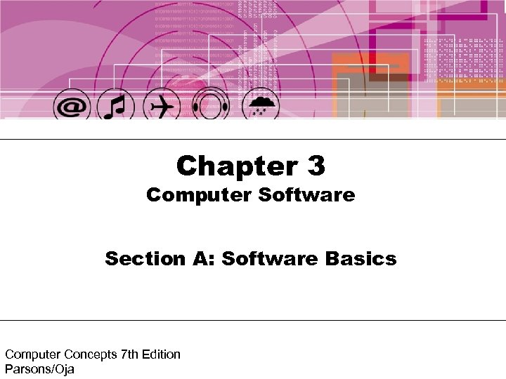 Chapter 3 Computer Software Section A: Software Basics Computer Concepts 7 th Edition Parsons/Oja