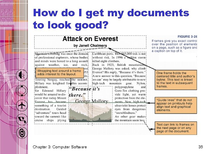 How do I get my documents to look good? Chapter 3: Computer Software 35