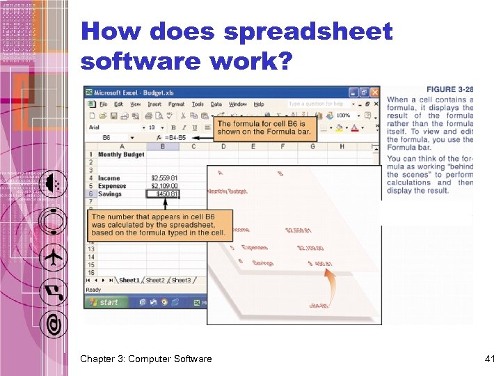 How does spreadsheet software work? Chapter 3: Computer Software 41