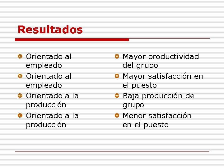 Resultados Orientado al empleado Orientado a la producción Mayor productividad del grupo Mayor satisfacción