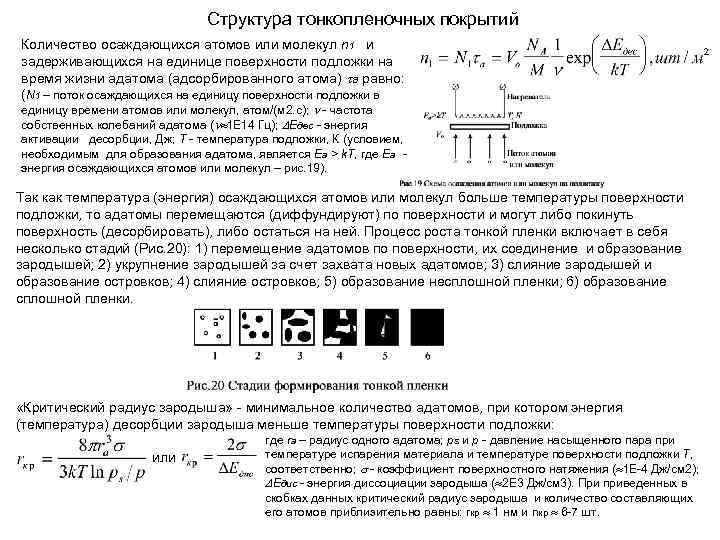 Структура тонкопленочных покрытий Количество осаждающихся атомов или молекул n 1 и задерживающихся на единице