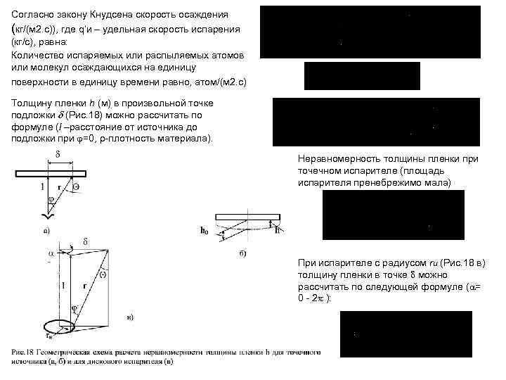 Согласно закону Кнудсена скорость осаждения (кг/(м 2. с)), где q'и – удельная скорость испарения