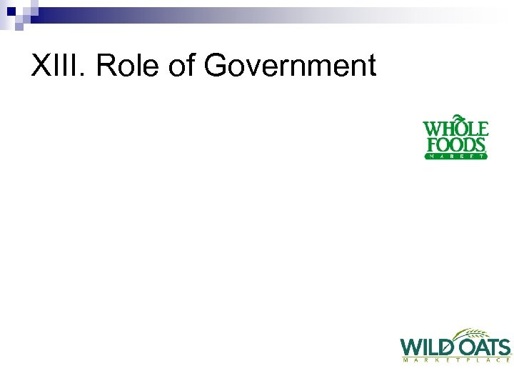 XIII. Role of Government